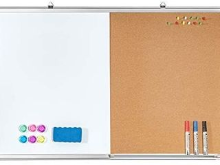 Combination White Board   Bulletin Cork Board 36 x 23 Whiteboard Magnetic  Combo Dry Erase Board with Aluminum Frame Hanging Message Board Wall Mounted for Homeschooling  Office  Classroom  Damage on the back  does not impact function