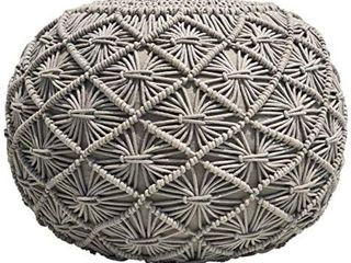 Casa Platino Pouf Ottoman Hand Knitted Cable Style Dori Pouf   MacramAc Pouf   Cotton Braid Cord   Handmade   Hand Stitched   Truly One of A Kind Seating   20 Dia X 14 Height Silver Grey