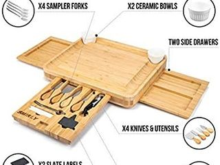 Smirly Cheese Board and Knife Set  13 x 13 x 2 Inch Wood Charcuterie Platter for Wine  Cheese