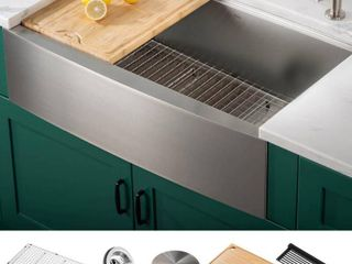 KRAUS Korea Workstation 33 inch 16 Gauge Stainless Steel Single Bowl Farmhouse Kitchen Sink with Accessories  Pack of 5