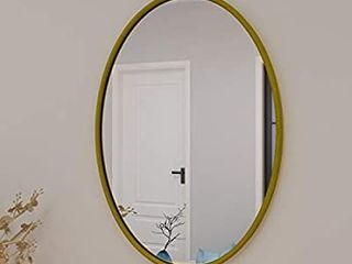 PROHOMEWARE Gold Oval Bathroom Vanity Decorative Mirrors   Metal 24X35 in Frame Double Modern Beveled Bedroom Mirror Farmhouse Rustic Vintage Above Couch Entryway Wall Silver Mirror