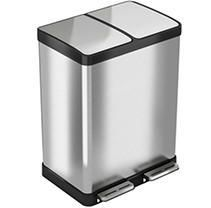 iTouchless SoftStep Stainless Steel Step Recycler Trash Can  60 liter   16 Gallon  2  8 gallon removable Inner Buckets