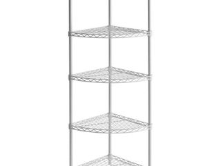 Muscle Rack 14 W x 14 D x 47 H 5 Tier Steel Wire Corner Shelving Unit  875 lb Capacity  White
