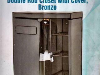Simple Houseware Freestanding Cloths Garment Organizer Closet With Cover  Dark
