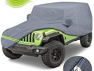 KAKIT 6 layers Covers for Jeep 2007 2020 4 Door Customer Fit Waterproof All Cotton Inside with Windproof Strap   Driver Door Zipper