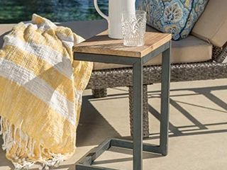 Christopher Knight Home Caspian Outdoor Firwood C Shaped Table  Antique Finish