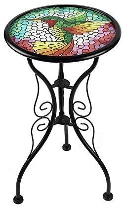 liffy Outdoor Mosaic Side Table Hummingbird Bench Small Patio Round Printed Glass Table for Garden  Yard or lawn