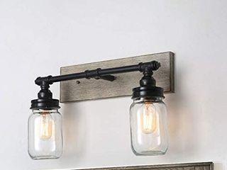 lAlUZ Faux Wood Vanity light 2 Farmhouse Bathroom Fixtures with Mason Jar Shades  Black Finish