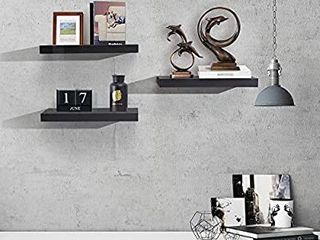 AHDECOR Floating Wall Mounted Shelves  Set of 3 Display ledge Shelves Wide Panel for Bedroom Office Kitchen living Room  5 9  Deep  Black