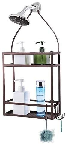 Minggoo Shower Caddy Organizer Mounting Over Shower Head Or Door Extra Wide Space for Shampoo  Conditioner  and Soap with Hooks for Razorsand More 10 5  x 4 5  x 22 4 Copper Red