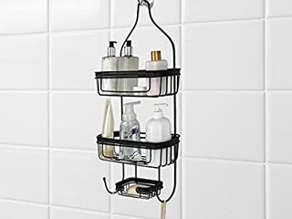 Bathroom Door or Hanging from Shower Head Caddy with Two Basket Organizers Plus Dish for Storage Shelves for Shampoo  Conditioner Soaps