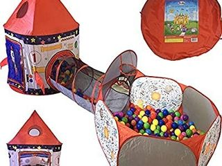 Playz 3pc Rocket Ship Astronaut Kids Play Tent  Tunnel    Ball Pit with Basketball Hoop Toys for Boys  Girls  Babies  and Toddlers   STEM Inspired Educational Galactic Spaceship Design w  Planets  balls not included