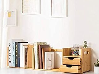 Ollieroo Natural Bamboo Desk Organizer with Extendable Storage for Office and Home  CD Holder Media Rack
