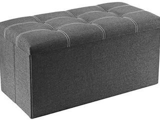 YOUDENOVA 30 inches Storage Ottoman Bench  Foldable Footrest Shoe Bench with 80l Storage Space  End of Bed Storage Seat  Support 350lbs  linen Fabric Grey