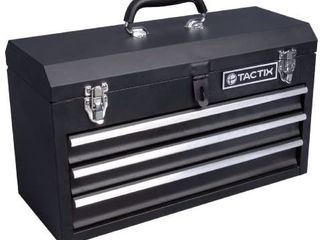 Tactix 321102 3 Drawer Steel Portable Tool Box  52cm   ding on the lid