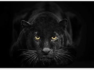SEVEN WAll ARTS  Black White Canvas Wall Art Animal leopard Poster Pictures Black Panther Giclee Print on Canvas Stretched living Room Bedroom Ready to Hang 24 x 36 Inch