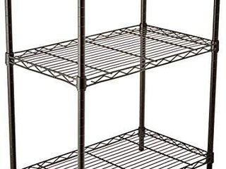 AmazonBasics 3 Shelf Adjustable  Heavy Duty Storage Shelving Unit  250 lbs loading capacity per shelf  Steel Organizer Wire Rack  Black  23 3l x 13 4W x 30H