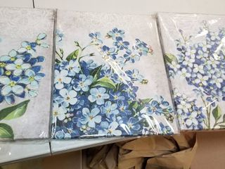3 Painting Canvas Wall Art Blue Flowers