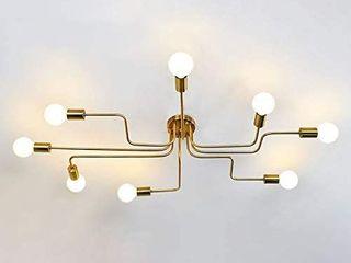 NIUYAO Industrial Modern Semi Flush Mount Ceiling light Chandelier Wrought Iron 8 Edison lights
