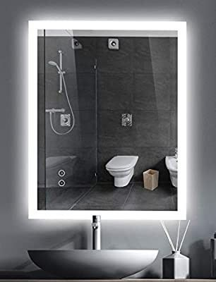 Slang 32x24 inch lED Mirrors for Bathroom Wall Mounted Mirror Anti Fog Dimmable Memory Makeup Mirror Touch Button Adjustable light Brightness