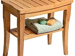 Premium Bamboo Shower Bench with Shelf