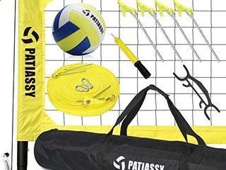 Patiassy Professional Portable Volleyball Set   Includes Volleyball Net System with Height Adjustable Aluminum Poles  Winch System for Anti Sag Net  Volleyball  no bag