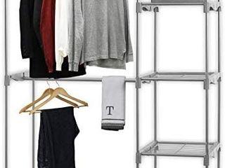 Simple Houseware Freestanding Clothes Garment Organizer Closet  Silver