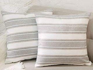 2 Pack Multi Color Stripe Euro Pillow Case Soft Faux linen Square Decorative Throw Cushion Cover Pillowcase with Hidden Zipper for Sofa 26  x 26