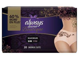 Always Discreet Women s Boutique Incontinence Underwear   S M   20ct  Buff Beige