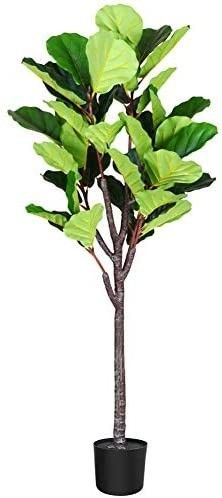 Fopamtri Artificial Fiddle leaf Fig Tree 5 3 Feet Fake Ficus lyrata Plant with 57 leaves