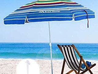 Brace Master Wind Resisitance Beach Umbrella  6 5ft Sand Anchor with Tilt Aluminum Pole
