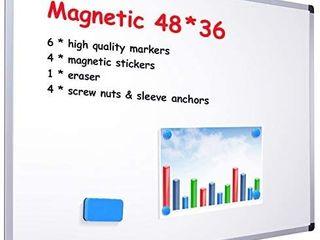 48  x 36  Dry Erase Board  Ohuhu Magnetic large Whiteboard White Board with 6 Color Dry Erase Markers  4 x Magnetic Stickers  1 x Eraser