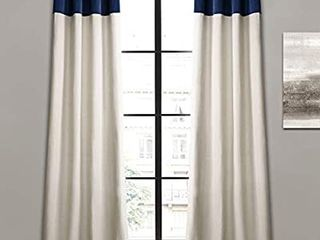 linen Window Curtain Panel Pair  84  x 40  each pannel  2 pannel s   Navy   Off White  Navy with button decor  see pictures