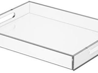 NIUBEE Clear Serving Tray 12x16 Inches  Spill Proof  Acrylic Decorative Tray Organiser for Ottoman Coffee Table Countertop with Handles   will need washed