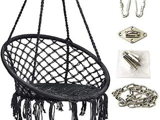 Hi Suyi Hanging Rope Hammock lounger Chair Macrame Porch Swing for Indoor Outdoor Home Bedroom Patio Yard Garden  Not Included Cushion or Pillow   no hardware