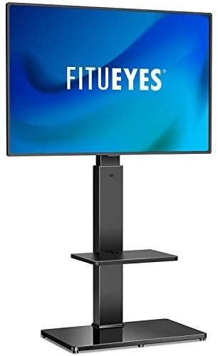 FITUEYES Swivel Floor TV Stand with Mount for 32 65 Inches Plasma lCD lED Flat or Curved Screen TVs  Universal Television Stands with Tempered Glass Base and Media Storage TT207001MB