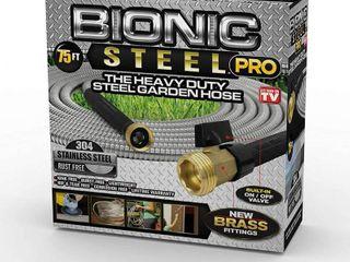 Bionic Steel Pro 5 8 in  Dia x 75 ft  Heavy Duty Stainless Steel Garden Hose with Brass Fitting