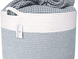 XXl Cotton Rope Blanket Basket 20a x 20a x 13 3a   Extra large Woven Hamper Storage   laundry Baskets with Handles for Toys  Throws  Clothes  Blankets  Pillows   living Room  lt Gray Mix