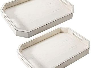 Rustic White Wood Serving Tray with Cutout Handles and Angled Edges