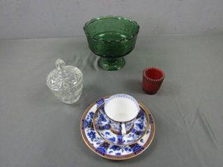 Flow Blue Teacup & Misc
