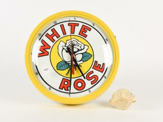 WHITE ROSE ADVERTISING DOME FACED ClOCK   REPRO