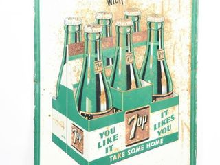 FRESH UP 7UP 6 PACK  THE All FAMIlY DRINK SST SIGN
