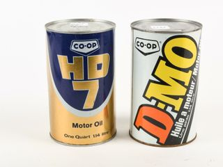 lOT OF 2 CO OP MOTOR OIl QUART OIl CANS