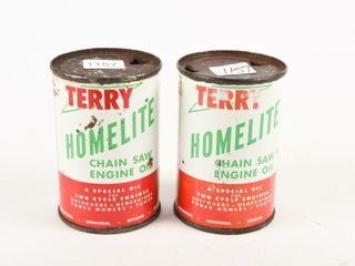 lOT OF 2 TERRY HOMElITE CHAIN SAW 10 OZ  CANS