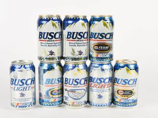 lOT OF 8 NASCAR BUSCH PUll TOP BEER CANS