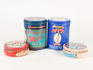 lOT OF 4 PlANTERS PEANUT ADVERTISNG TINS