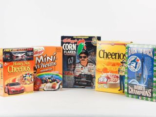 lOT OF 5 NASCAR DRIVER CEREAl COVER ADVERTISING