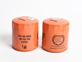 2   1993 FRAM FIlTER 40TH ANNIVERSARY COIN BANKS