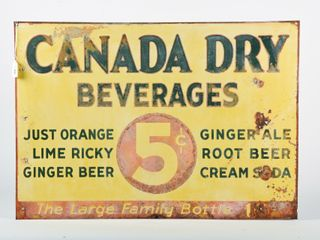 CANADA DRY BEVERAGES 5 CENT SST EMBOSSED SIGN