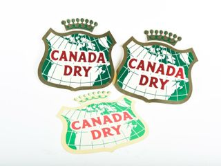 lOT OF 3 CANADA DRY DECAlS  NOS